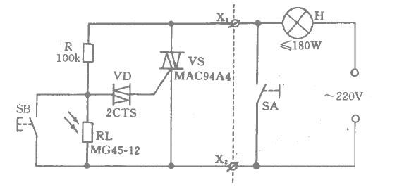 房门控制灯工程开关的电路如图